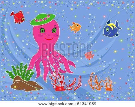 Funny Octopus And Underwater Marine Life