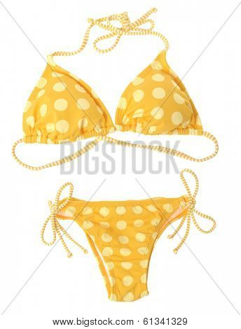 Yellow bikini isolated over white background