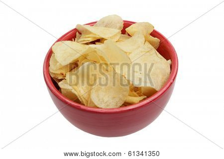 Potato chips in bowl on white background