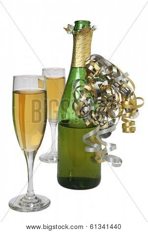still life with glasses and champagne bottle