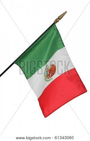Mexican flag on white background