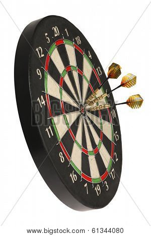 dartboard with three darts on bullseye