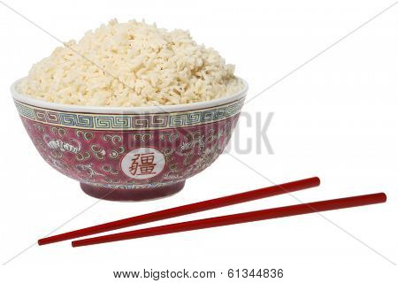 bowl of rice and red chopsticks