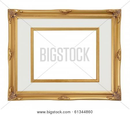 gold frame with white center for picture