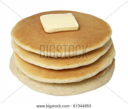 stack of pancakes with butter on top