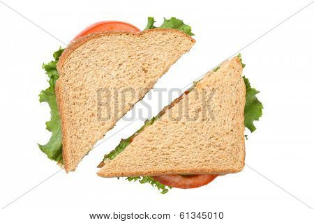 Sandwich cut in half, cutout on white background