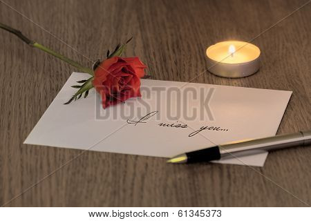 Love Letter With A Rose & Candle
