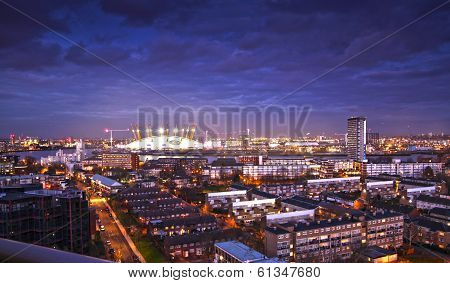 LONDON, UK - MARCH 05, 2014: view on O2 dome, millennium Dome, main arena for pop performances and s
