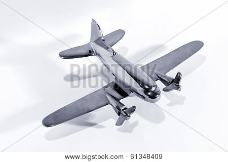Silver Model Toy Airplane