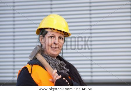 Female Worker With Sledge-hammer
