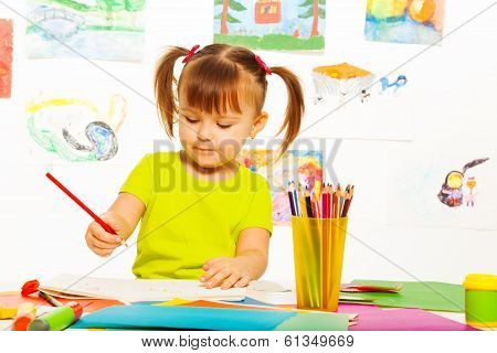 Cute Girl Draw With Pencil