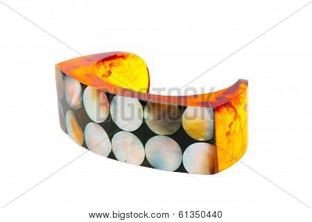 Artificial amber bracelet with nacre