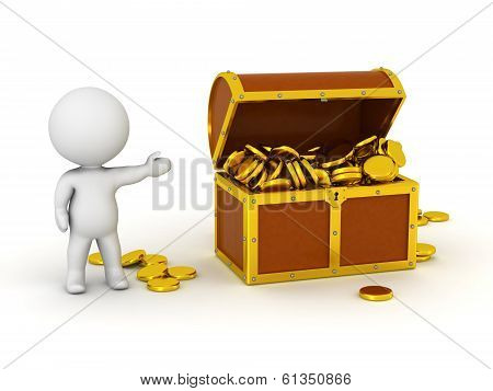 3D Character With Treasure Chest and Gold Coins
