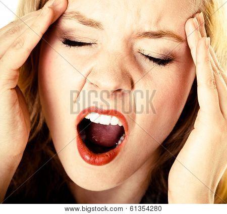 Business Woman Headache Pain Screaming Shouting. Stress In Work.