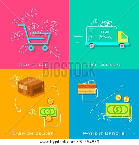 illustration of e commerce online shopping concept in flat style