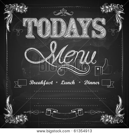 illustration of menu written on chalkboard