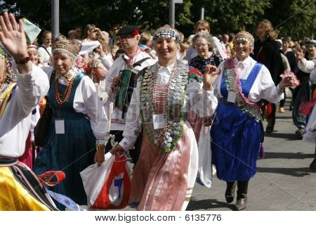 Participants Of Tartu Hanseatic Days Marching Through The City. Tartu, Estonia