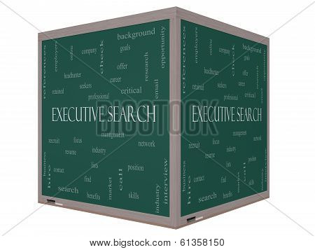 Executive Search Word Cloud Concept On A 3D Cube Blackboard