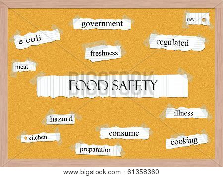Food Safety Corkboard Word Concept