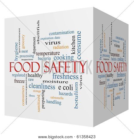 Food Safety 3D Cube Word Cloud Concept