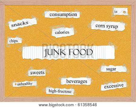 Junk Food Corkboard Word Concept