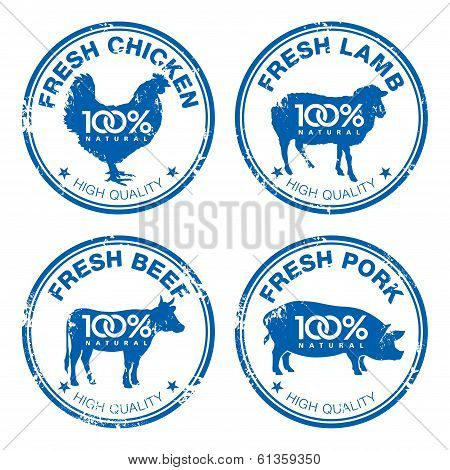 Set Of Fresh Meat Stamps