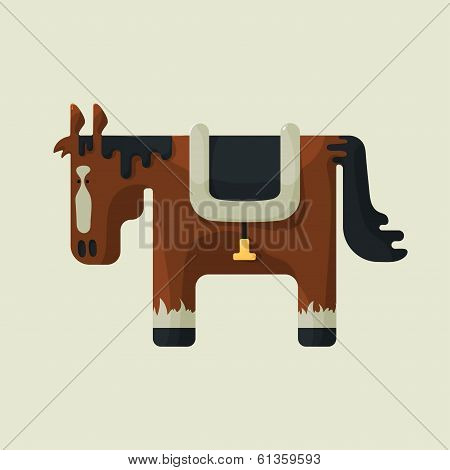 Brown square shape cute horse, standing sideways