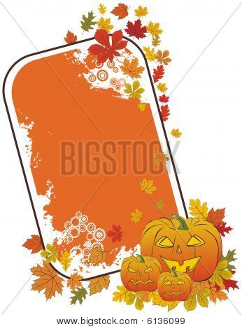 Halloween pumpkin frame with autumn leaves