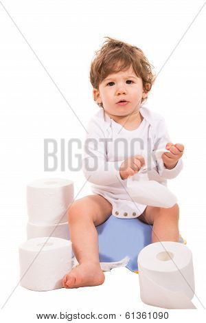 Upset Baby On Potty