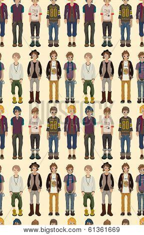 Seamless Young Man Pattern