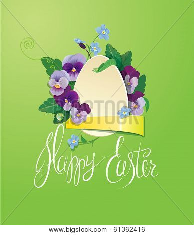 Easter Greeting Card With Paper Egg, Ribbon, Forget Me Not And Pansy Spring Flowers