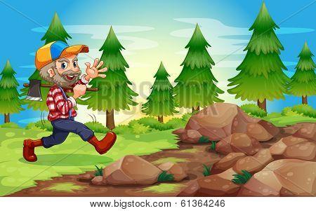 Illustration of a cheerful lumberjack near the rocks