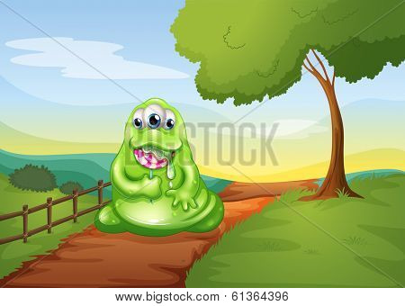 Illustration of a monster walking while eating a lollipop
