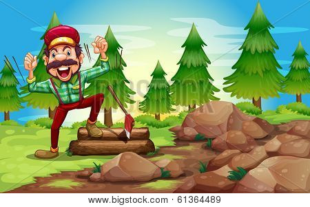 Illustration of a woodman in the forest near the pine trees