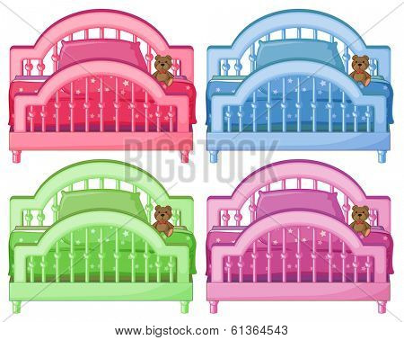 Illustration of the four colorful beds on a white background