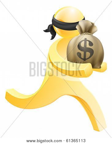 Burglar Or Thief Running With Sack Of Money