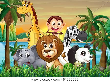 Illustration of a group of animals at the riverbank with coconut trees