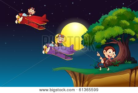 Illustration of the monkeys on a plane flying near the cliff