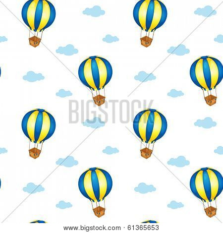 Illustration of a seamless design with big floating balloons on a white background