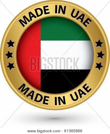Made In Uae Gold Label, Vector Illustration