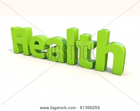 Word health icon on a white background. 3D illustration.