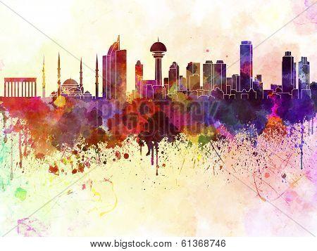 Ankara Skyline In Watercolor Background