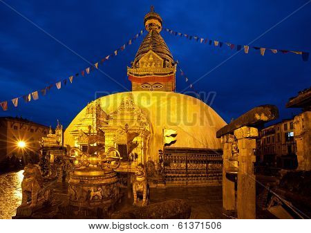 Night Shot From Swayambhunath Temple In Kathmandu