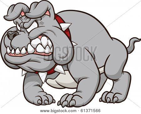 Cartoon bulldog mascot. Vector clip art illustration. All in a single layer.