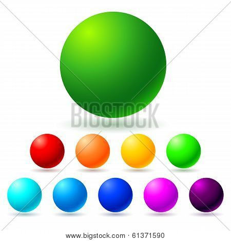 Set of brignt colored balls