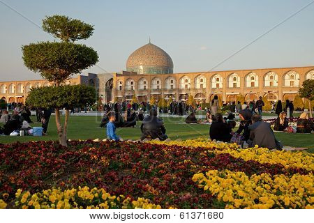 People Picnicking In The Naghshe Jahan Square Of Isfahan