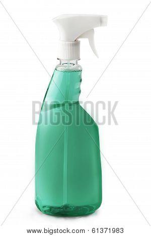 Spray bottle with green liquid