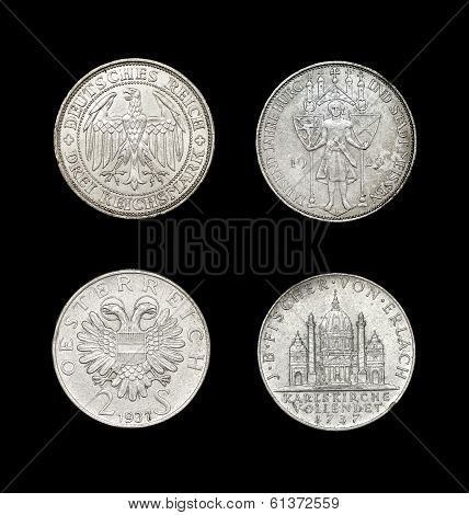 Set of coins of German-speaking countries