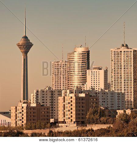Tehran Skyline In The Sunset