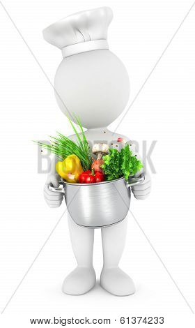 3d white people with cooking pot